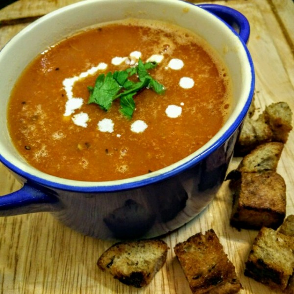 Smooth, refreshing and herby: a grilled tomato and celery soup