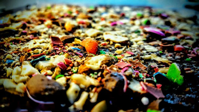 The colourful top layer of the saltine toffee