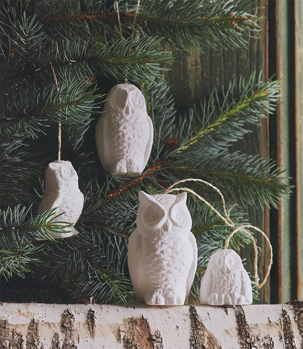 Alessi Sale White Porcelain Snowy Owl Christmas Tree Ornaments Set Of