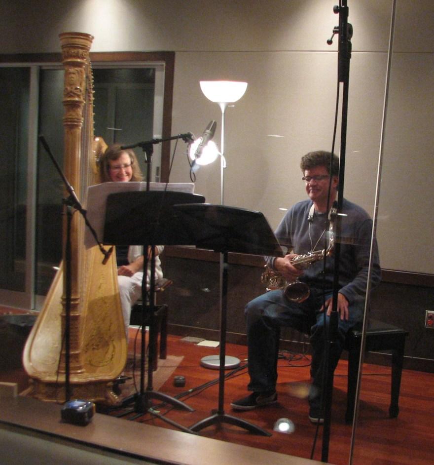 Gianetta Baril and Jeremy Brown record Nova Pon's Wayfaring in Lethbridge, Sept. 2011.