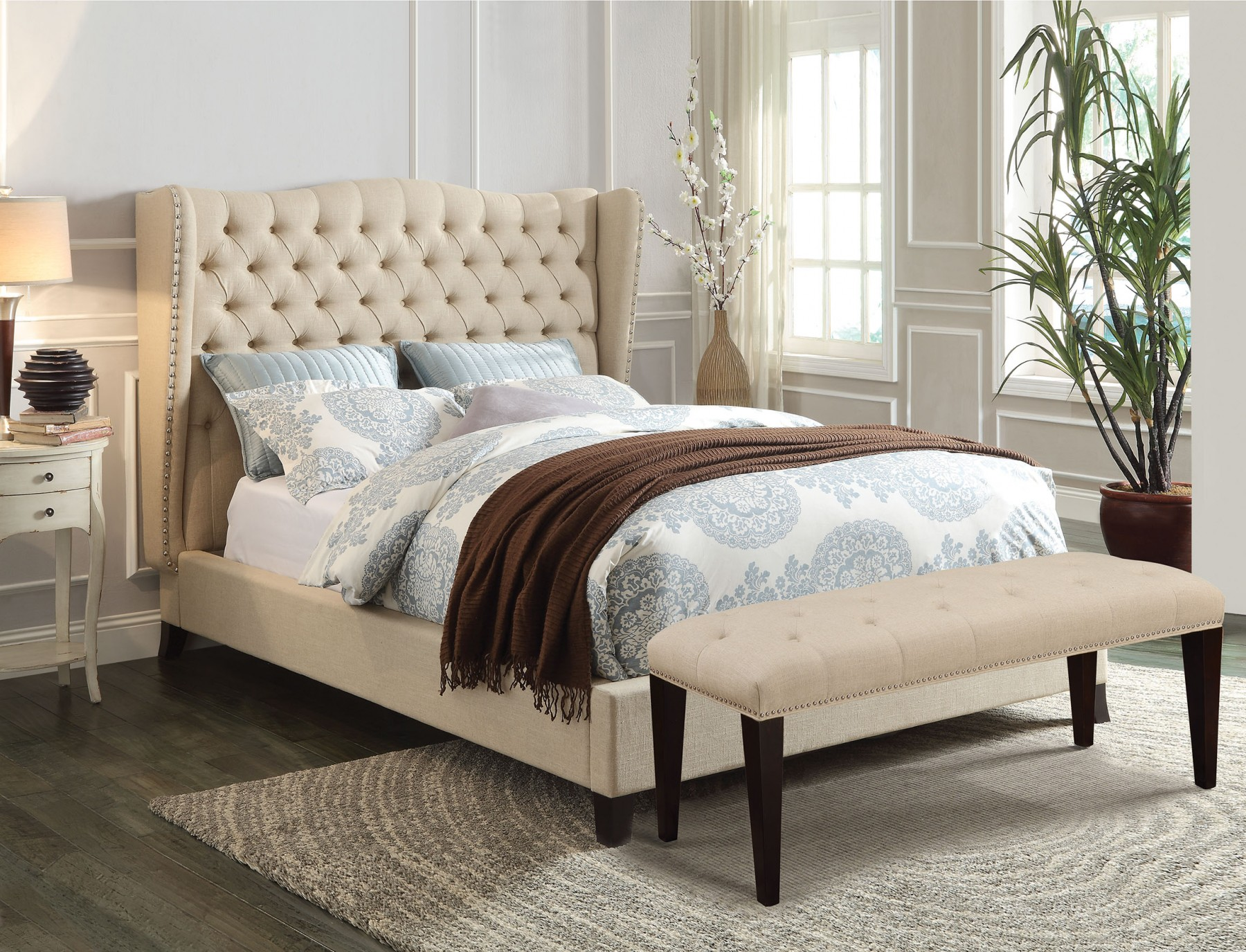King Size Bed Throws Faye California King Size Bedroom Set Beige