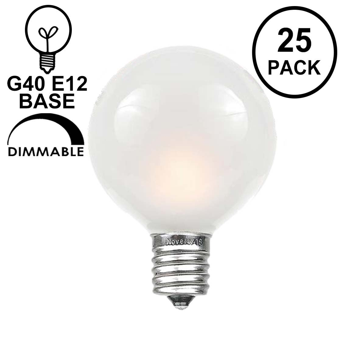 Light Bulb Denver Frosted White G40 Globe Replacement Bulbs 25 Pack