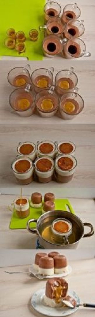 Мини-чизкейки с карамелью (без выпечки)