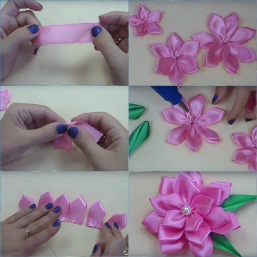 Легкий цветочек из атласной ленты своими руками
