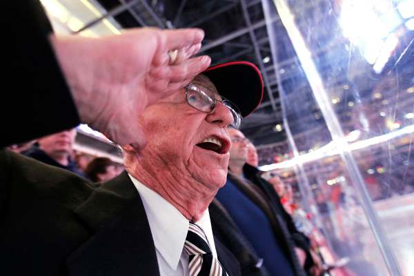 Canadian World War 2 veteran Len Kropioski salutes and sings the anthem prior to the first period of the NHL game between the Winnipeg Jets and Buffalo Sabres in Winnipeg on Monday, March 5, 2012. (John Woods / The Winnipeg Free Press)