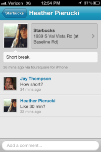 Heather P 4sq checkin