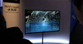 Panasonic 4K television on display at the Consumer Electronics Show