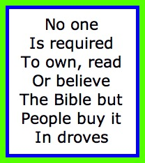 The Bible is not required reading but is bought in large numbers