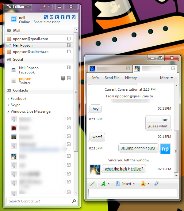 Trillian 5 Contact List and Conversation Window