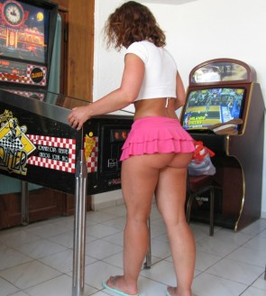 gaming with a short skirt on