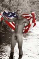 nude man wrapped in a flag