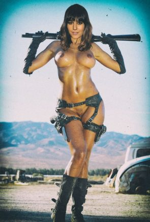 Nude woman with guns