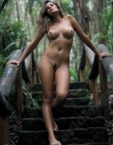 nude in forest path
