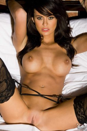 raven hair beauty in stockings