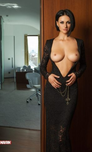 topless hotel room woman
