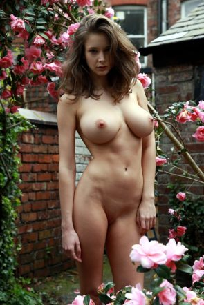 Emily Shaw in the flower garden