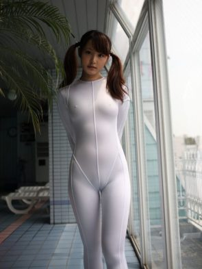 asian in see through white suit