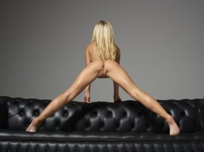 epic stretch on leather couch