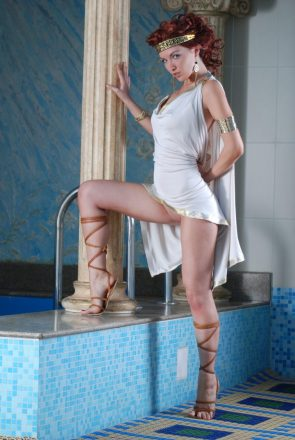 greek goddess at the pool