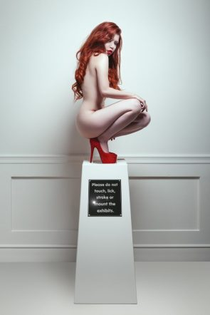 red head on a stand