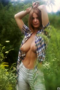 Playboy girl in nature