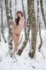 nude in a white forest