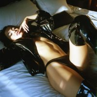 latex boots and jacket