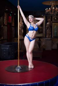 Stefania Ferrario stretching in blue