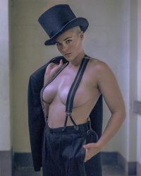 Stefania Ferrario top hat and suspenders