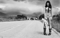 sad nude hitchhiker
