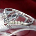 K14WG/0.07ct ダイヤモンドVデザインリング ・ダイヤ指輪