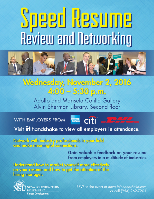 Resume Review Services Speed Resume Review And Networking, Nov. 2 | Nsu Newsroom