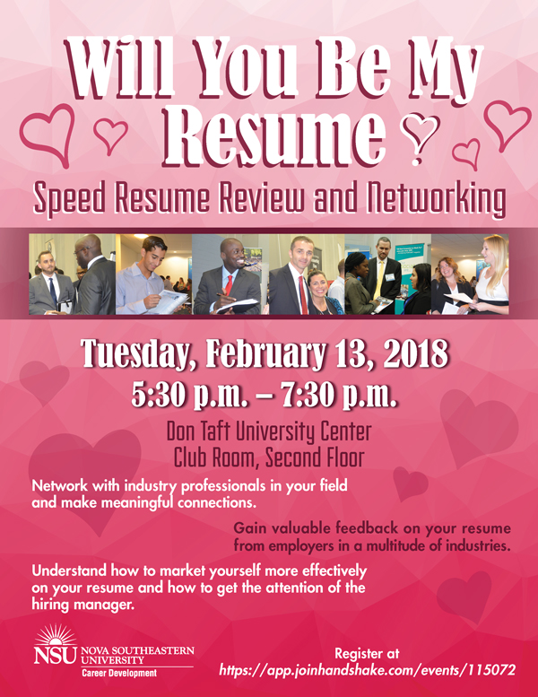 Will You Be My Resume, Speed Resume Review and Networking, Feb 13 - review my resume