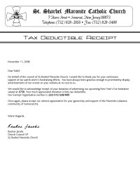 Tax Deductible Donation Thank You Letter Template Examples