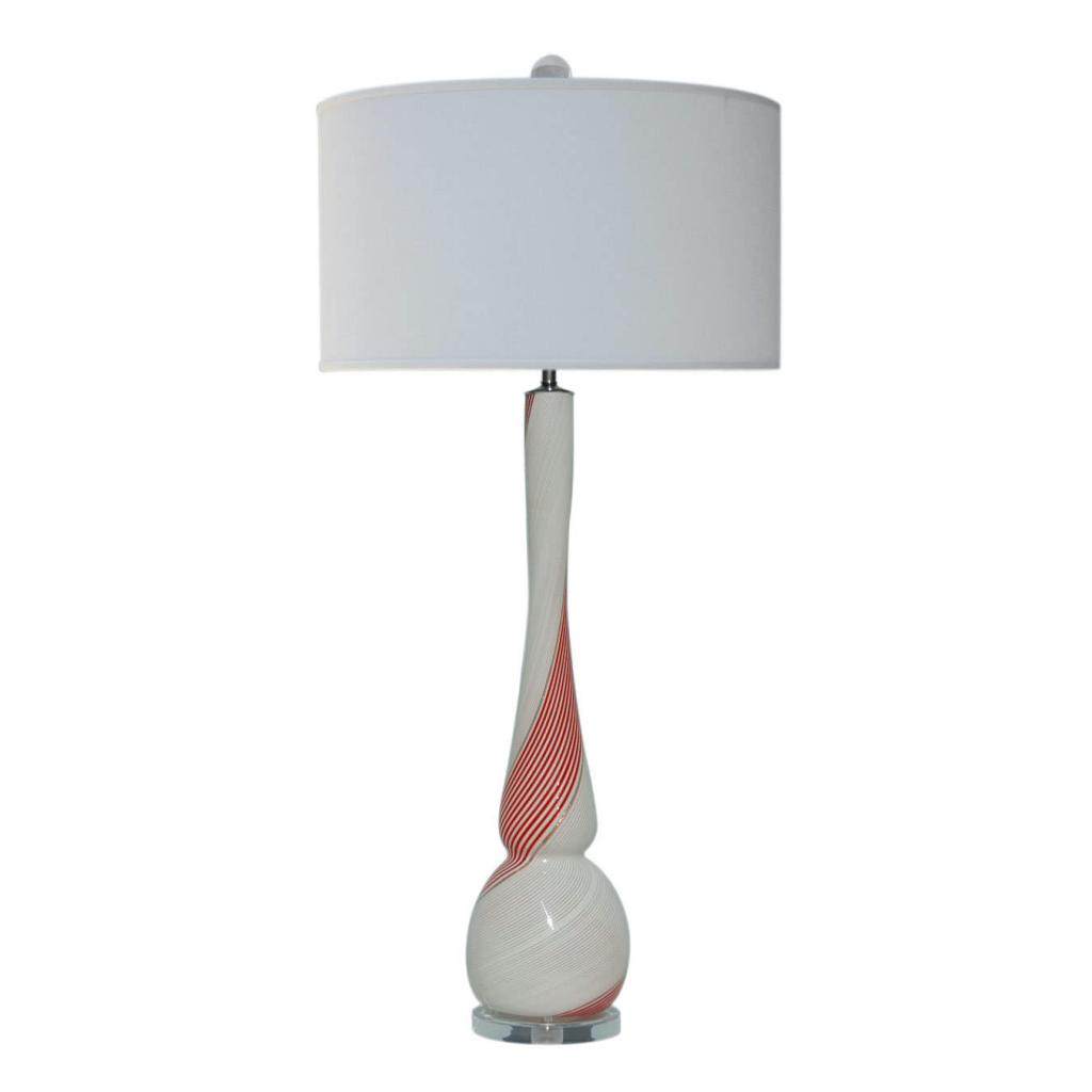 Red And White Table Lamp Dino Martens Murano Glass Table Lamp Red White Swank