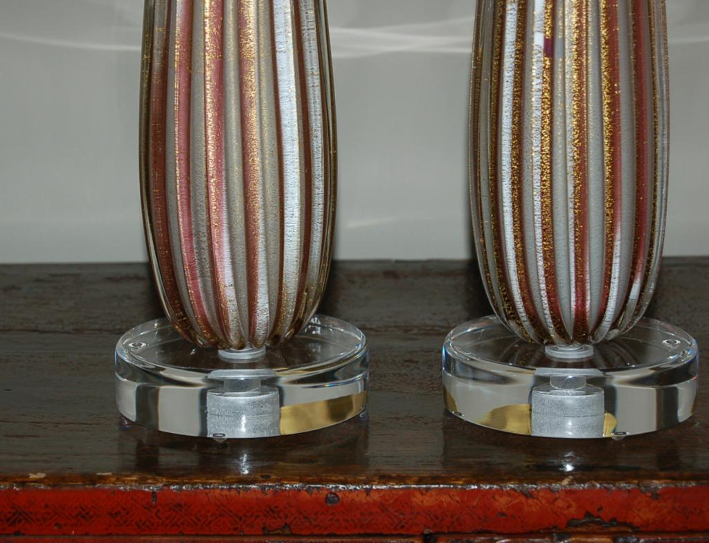 Barovier & Toso Vintage Murano Striped Glass Column Table Lamps - Plum
