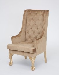 Gold High Back Wing Chair - Nage Designs