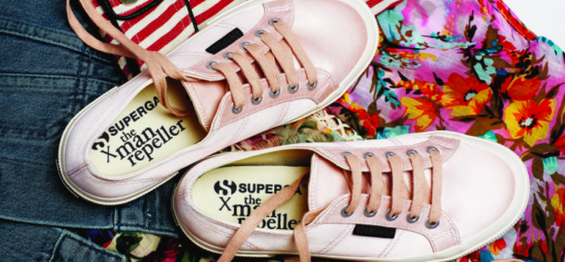 man repeller x superga sneaker collection in pink - hot new shoes