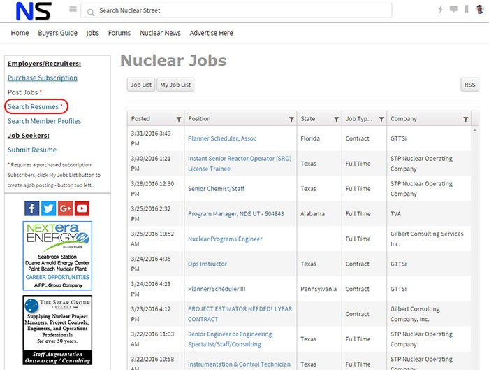 Nuclear Resume Search - Nuclear Street Support - Support - Nuclear