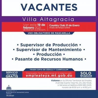 Ministerio de Trabajo invita al proceso de reclutamiento en Villa Altagracia