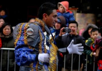 Grupo folklorico de Bolivia en desfile celebración del año nuevo chino . Foto de Maosung Yao.