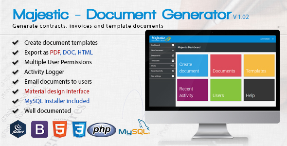 Nulled Majestic v102 \u2013 Create documents from templates Easily - generate invoices