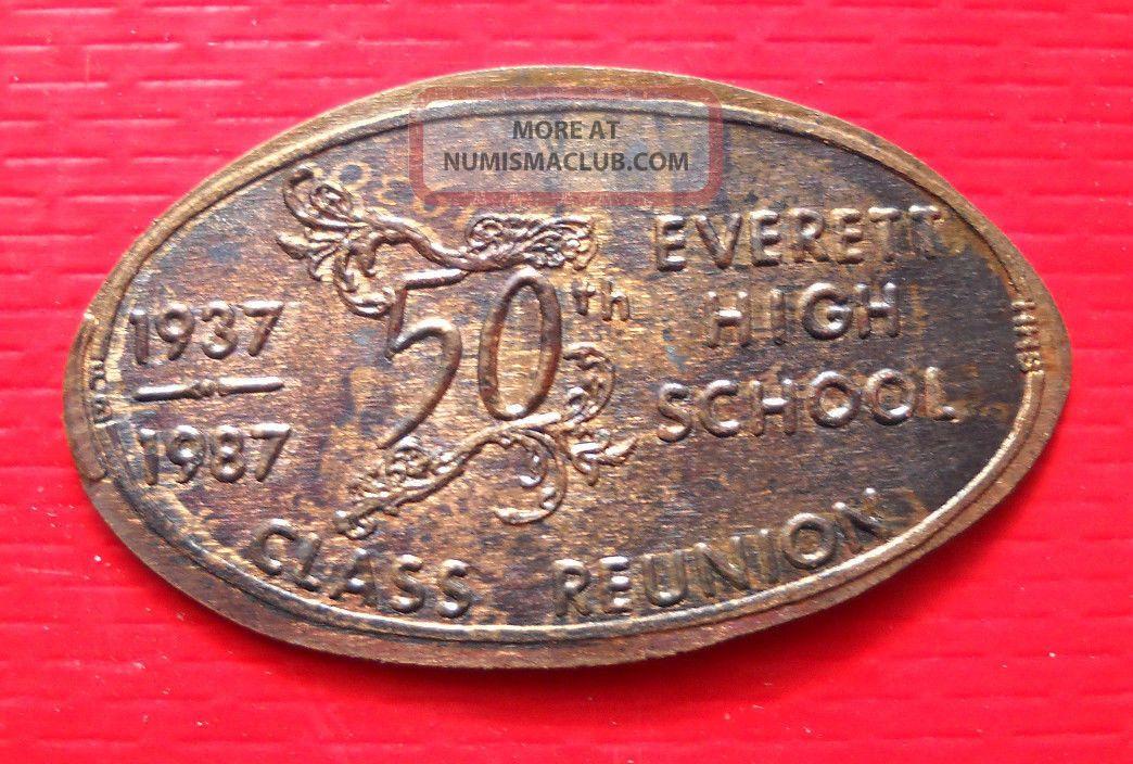 Everett High School Elongated Penny Lansing Mi Usa Cent 1937 1987