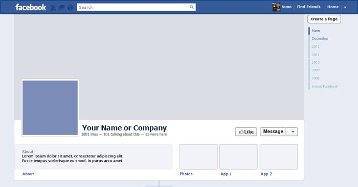 Facebook Timeline Template - WEB DESIGN PORTO - DESIGN PORTO - Nuno