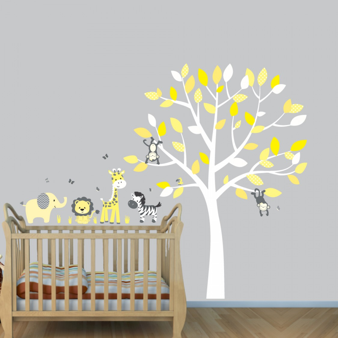 Sticker Decor Grey Jungle Wall Stickers With Elephant Decals For Yellow