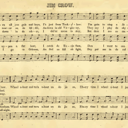 "Click to expand (music should continue playing.) ""Jump Jim Crow"" sheet music in the Minstrel Ethiopian Glee Book, 1849"