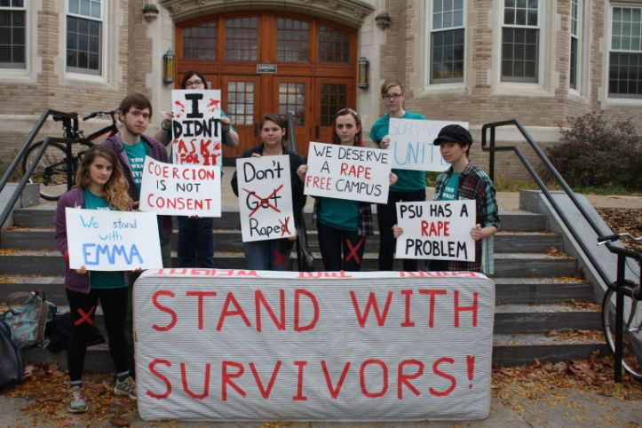 Demonstration at SUNY Plattsburgh, part of the #carrythatweight National Day of Action. (Kiley Zachs/Tumblr)