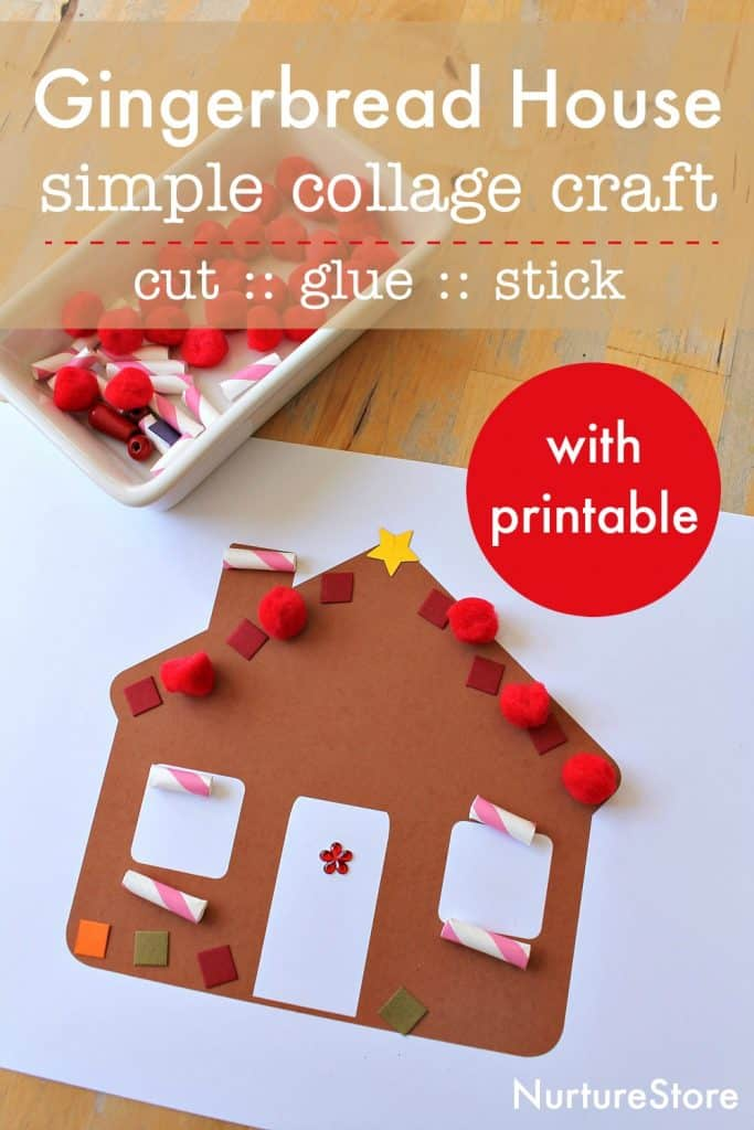 Simple gingerbread house collage craft with printable - NurtureStore