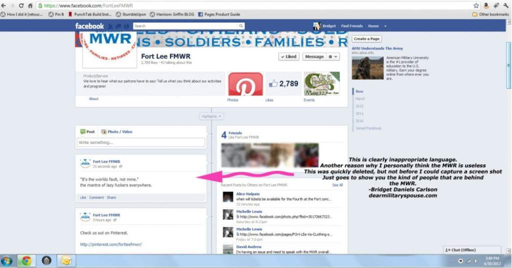 Fort Lee FMWR Potty Mouth Screen Shot