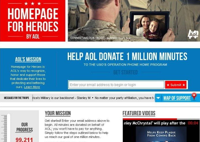 AOL Homepage for Heros